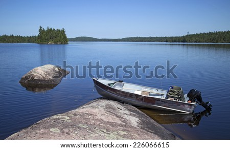 Docked fishing boat - stock photo