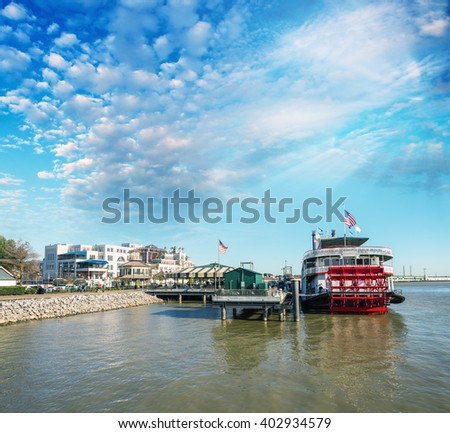 Docked steamboat in New Orleans - stock photo