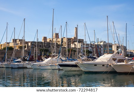 Docked yachts in the harbour of Valletta, Malta - stock photo