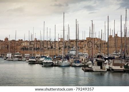 Docked yachts in the harbour of Vittoriosa, Malta - stock photo