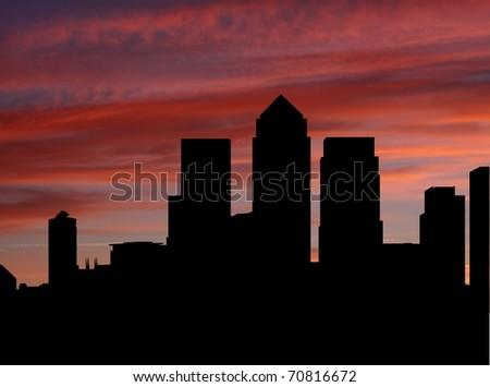 Docklands Skyline at sunset with beautiful sky illustration