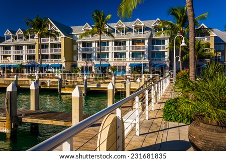 Docks and buildings on the waterfront in Key West, Florida. - stock photo
