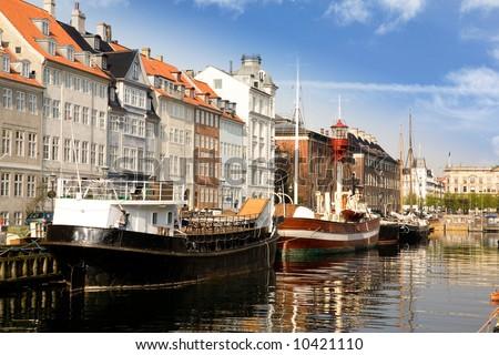 Docks in copenhagen on a warm summer day - stock photo
