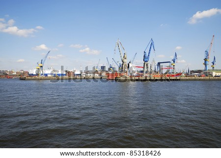 Docks of the harbor in Hamburg