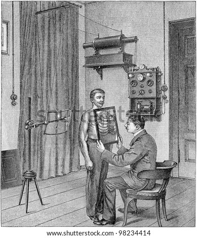 Doctor Analyzing An X Ray Vintage Illustration From Meyers Konversations Lexikon 1897
