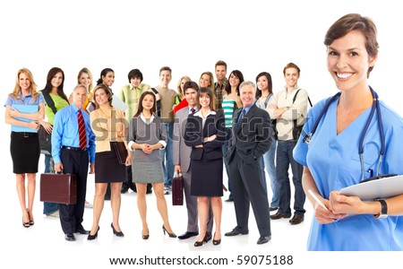 Doctor and a large group of smiling business people and workers. Over white background