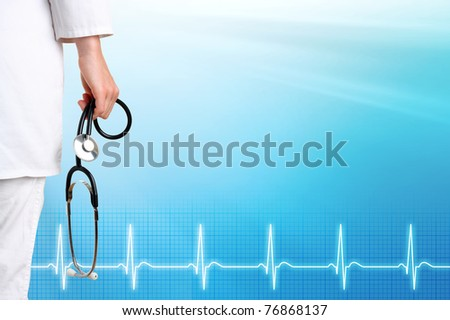 Doctor and ecg line with medical blue background - stock photo