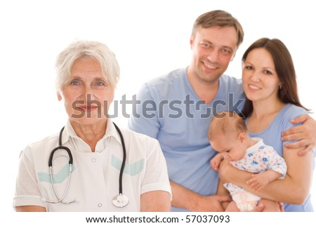 doctor and family with a newborn on a white - stock photo