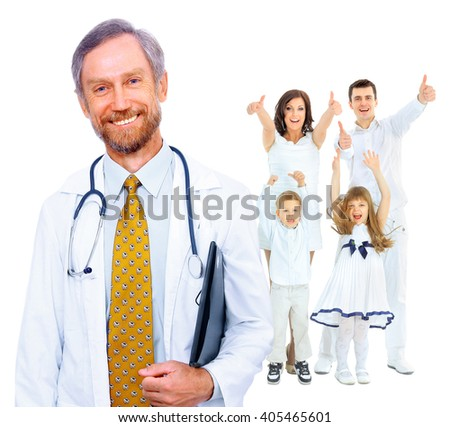 doctor and happy family - stock photo