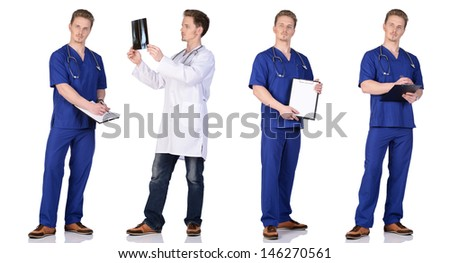 Doctor and  intern with x-ray snapshot, clipboard and phonendoscope. Isolated on white background. - stock photo