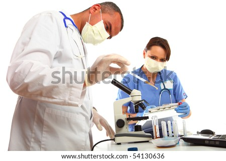 Doctor and Nurse in Laboratory - stock photo