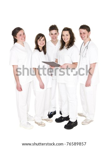 Doctor and Nurses isolated on white background - stock photo