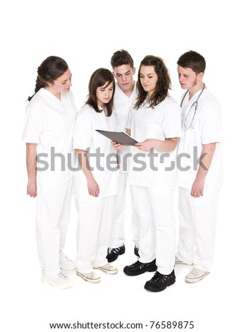 Doctor and Nurses isolated on white background
