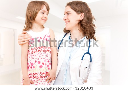Doctor and patient - child - stock photo