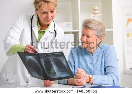 doctor and patient discussing scan results at the office