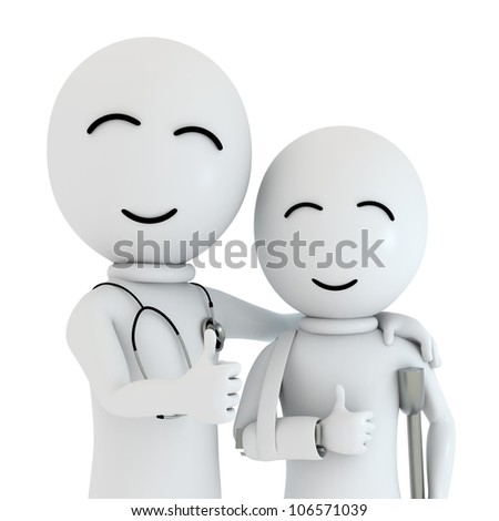 Doctor and Patient isolated on white background  /  see my portfolio for more works - stock photo