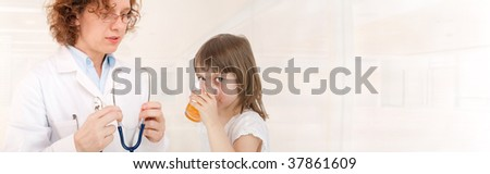 Doctor and patient. Natural Vitamins. Room for text - stock photo