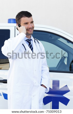 doctor and phone - stock photo
