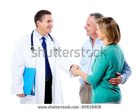 Doctor and senior couple patients. Isolated over white background. - stock photo