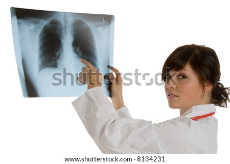 doctor at x-ray - stock photo
