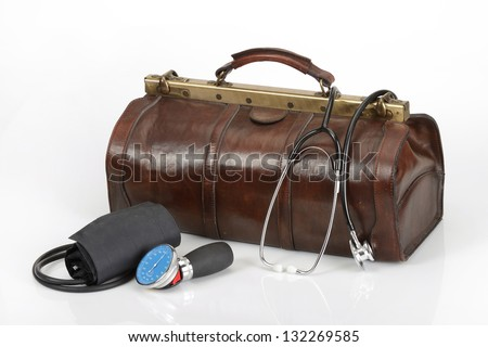 Doctor bag with tools - stock photo