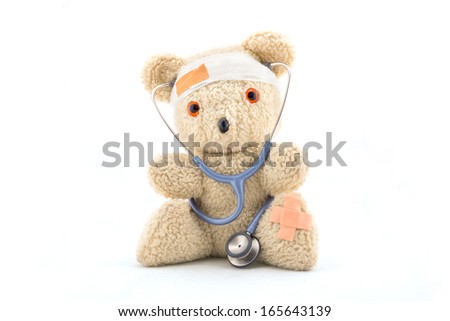 Doctor bear with stethoscope, isolated on white - stock photo