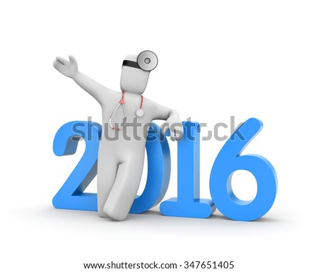 Doctor calls on everyone in the new year - stock photo