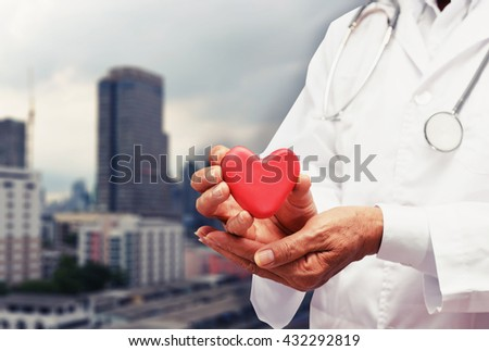 doctor care healthy heart , hospital concept background - stock photo