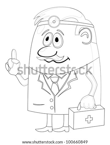Doctor, cartoon character, man in uniform with first-aid kit and head mirror, contour - stock photo
