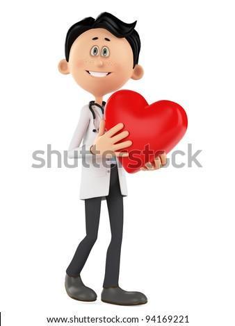 doctor cartoon is holding a heart with love - stock photo