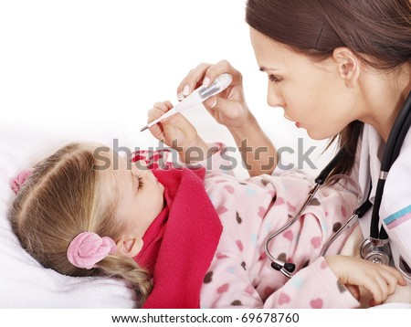 Doctor checking temperature of child. - stock photo