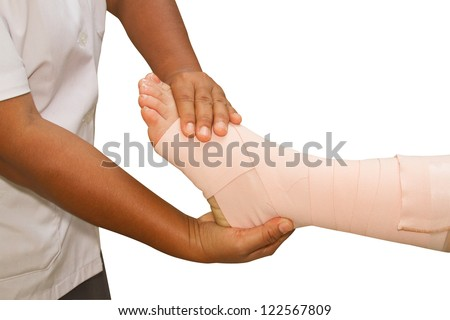 Doctor checking the ankle joint, ankle strain on white background