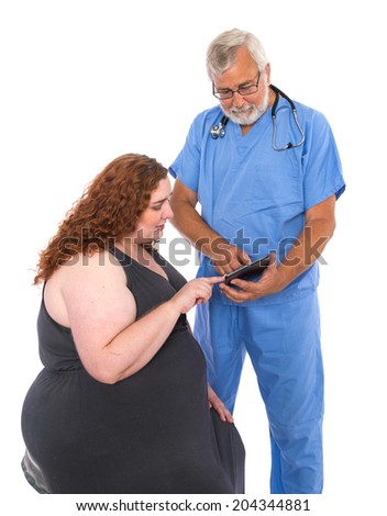Doctor consulting patient with tablet