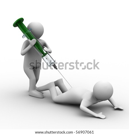 doctor does injection to patient. Isolated 3D image - stock photo