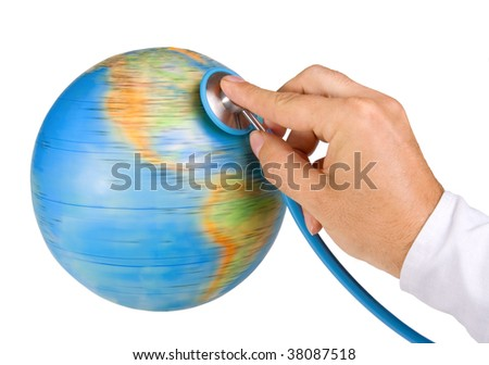 Doctor examine the Earth. Detail the stethoscope listening globe. Examination of the world on white background. Check the status of a health planet Earth isolated on white background..