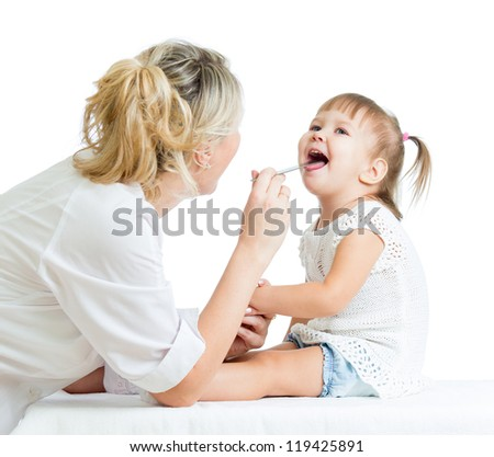 doctor examining baby isolated on white background - stock photo