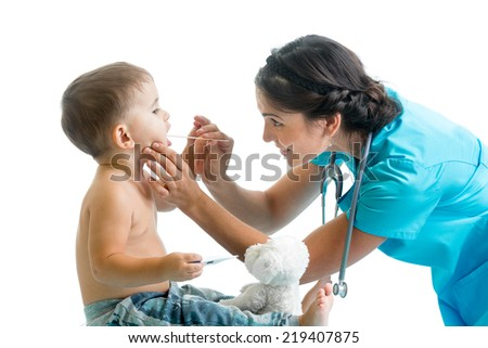doctor examining kid isolated on white background - stock photo