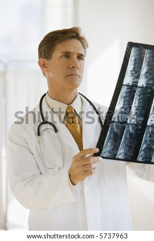 Doctor examining medical x-rays of a patient - stock photo