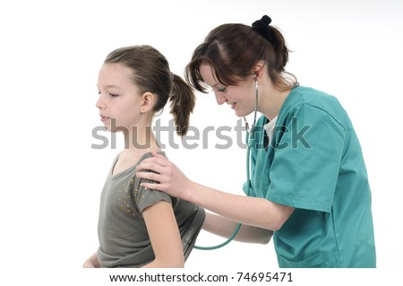 doctor examining with stethoscope