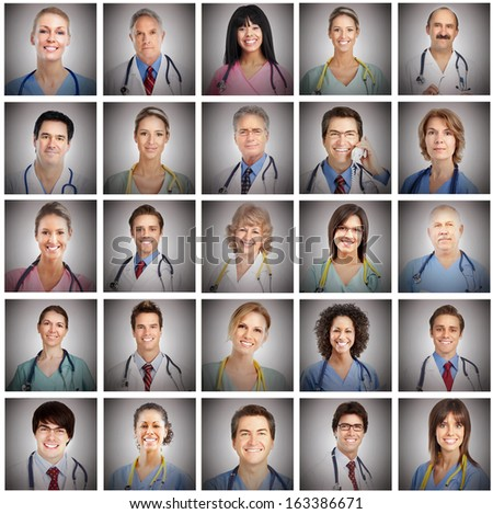 Doctor faces set collage. Health care concept background. - stock photo