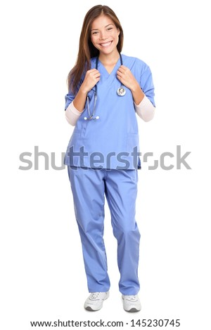 Doctor. Full length portrait of young female surgeon doctor or nurse with stethoscope around neck standing isolated on white background - stock photo