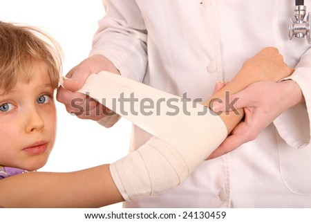 Doctor give first aid of child. Isolated. - stock photo
