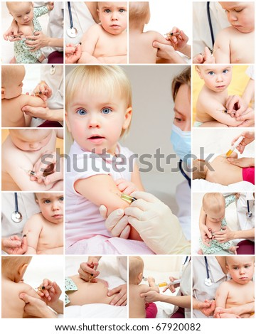 Doctor giving a child an intramuscular injection - stock photo