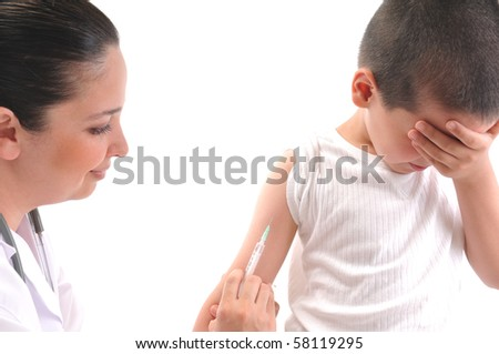 Doctor giving an injection in arm to a mimicking child - a series of MEDICAL IMAGES.