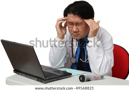 Doctor got headache - stock photo