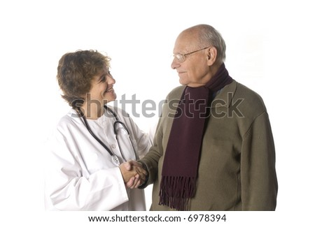 Doctor greeting a  patient - stock photo