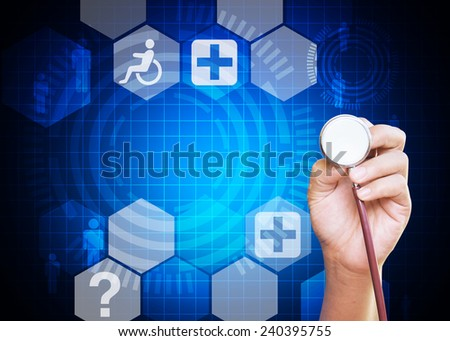 Doctor hand holding stethoscope on blue medical background