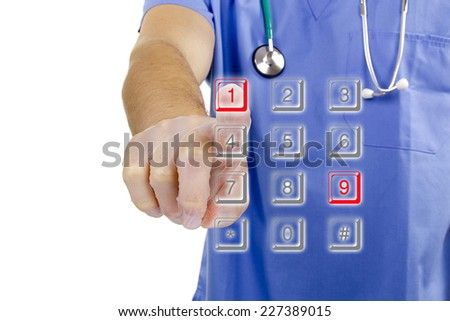 Doctor hand in rubber glove dials the number 911. - stock photo