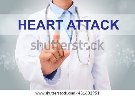 Doctor hand touching heart attack sign on virtual screen. medical concept - stock photo