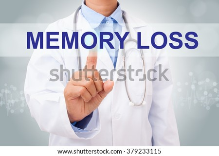 Doctor hand touching memory loss sign on virtual screen. medical concept - stock photo